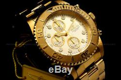NEW Invicta Pro Diver 18K Gold Plated Champagne Dial Chrono S. S Bracelet Watch