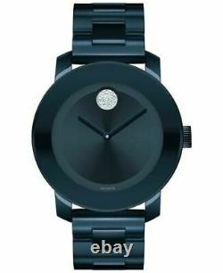 NEW MOVADO BOLD Blue Plated Stainless Steel Crystal Dot Ladies Watch 3600388