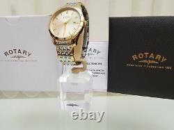 NEW ROTARY Mens watch 2 Tone Gold plated Champagne dial RRP £189 IDEAL GIFT