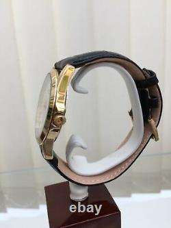 NEW Rotary Mens Watch Black Leather Strap Gold Plated RRP£189 Easy To Read Boxed