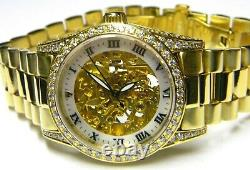 NWT Mens Croton Automatic Self Winding Skeleton Crystals Bling Gold Plated watch