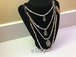 NWT Uno de 50 Multi Silver-plated Necklace Stacked with Smoke Crystals And Yes