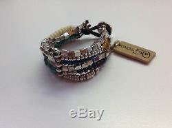 NWT Uno de 50 Silver-Plated/Earth Tone Crystals Bracelet Juggling Balls $185