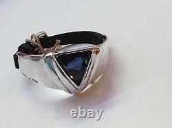 NWT Uno de 50 Silver-Plated/Leather Bracelet/Blue Swarovski Crystal Superunos