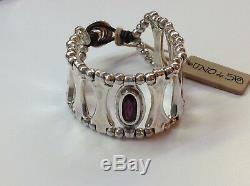 NWT Uno de 50 Silver-Plated Thick Bracelet withAmethyst Crystal 7 Guardian