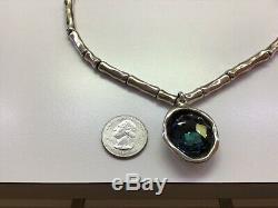 NWT Uno de 50 Silver-plated Necklace with Blue Swarovski Crystal Ojo con La Tela
