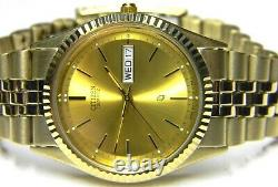 NWT mens Citizen President Calendar Day Date Gold Plated Champagne dress watch