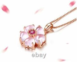 Necklace Women WILL LOVE! 18k Rose Gold Flower Pendant Anniversary Gift Plated