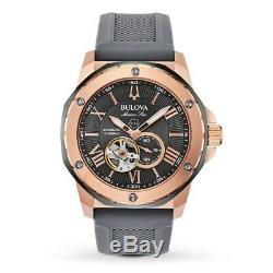 New Bulova Marine Star Automatic Rose Gold Plated Case Gray Dial 98a228