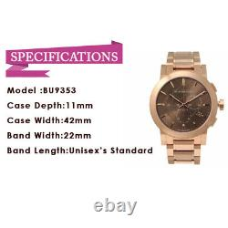 New Burberry BU9353 Taupe Chronograph Dial Rose Gold Plated Analog Unisex Watch