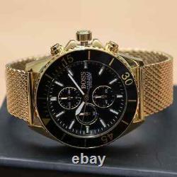 New Genuine Hugo Boss Hb1513703 Ocean Edision Black Dial Gold Plated Watch Uk