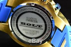 New Invicta 52mm Men Bolt Compass Chronograph Blue 18KGold Plated Silicone Watch