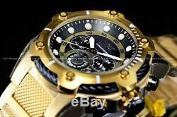New Invicta 52mm Men Bolt Compass Chronograph Quartz Black 24K Gold Plated Watch
