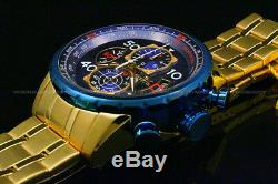 New Invicta MenAviator 18K Gold Plated Blue Dial Tachy S. S Chrono Bracelet Watch