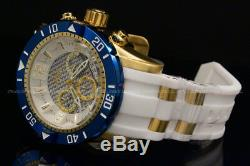 New Invicta Men Pro Diver 50 MM Chrono 18K Gold Plated White Dial S. S Poly Watch