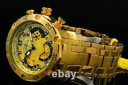 New Invicta Men's Pro Diver Scuba 3.0 Chrono 18K Gold Plated Gold Dial S. S Watch
