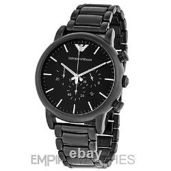 New Mens Emporio Armani Black Ion Plated Watch Ar1895 Rrp £299.00