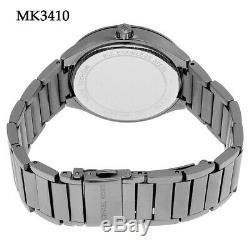 New Michael Kors MK3410 Grey Crystal 38mm Case Dial Gunmetal Plated Women Watch