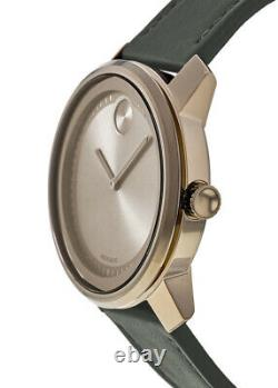 New Movado Bold Bronze Ion Plated Leather Strap Men's Watch 3600672