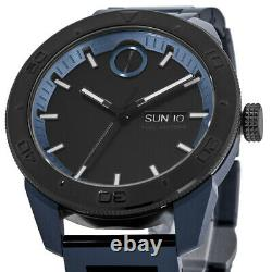 New Movado Bold Day-Date Sport Blue Ion-Plated Steel Men's Watch 3600607
