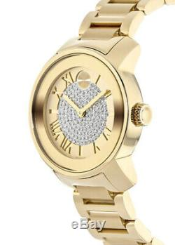 New Movado Bold Pave Dial Gold Ion-Plated Stainless Steel Women's Watch 3600255