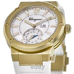 New Salvatore Ferragamo F-80 Motion Gold Plated White Unisex Watch SFAZ00218