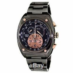 New Seiko SNL071 Men's Kinetic Chronograph Black Ion Plated Steel Quartz Watch