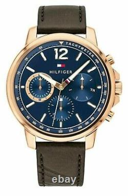 New Tommy Hilfiger Landon Rose Gold Plated Leather Strap Men's Watch 1791532