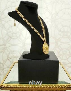 New Versace 24k Gold Plated Crystal Embellished Chain Necklace