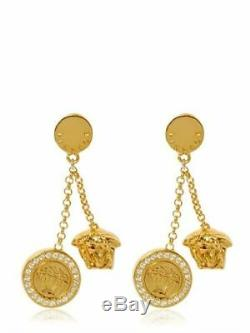 New Versace Gold plated Crystal Embellish Medusa Drop Earrings