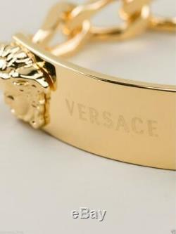 New Versace Men's 24K Gold Plated Double Medusa Chain Bracelet