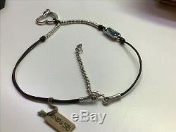 Nwt Uno de 50 Silver-plated/Leather Necklace with Blue Swarovski Crystal