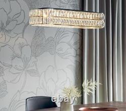 Oval Crystal Chandelier 5 Light LED Pendant Chrome Plate Finish Dims 67x23cm