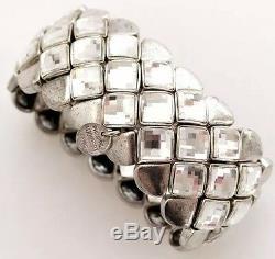 PHILIPPE AUDIBERT PARIS Silver Plated Swarovski Crystal Chunky Cuff Bracelet