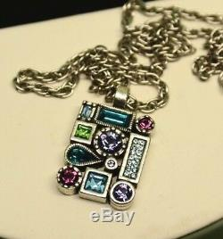 Patricia Locke 18 5 Necklace Silver Plate WATER LILY Swarovski Crystals NWOT