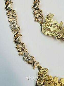 Personalized 14k Gp Double Plated Teddy Bear Xo Name Necklace Bracelet Set