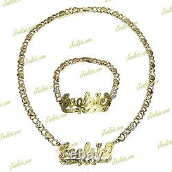 Personalized 14k Gp Double Plated Xo Hugs And Kisses Name Necklace Bracelet Set