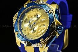 Rare Invicta Men 55mm Grand SubAqua Dragon Blue and 18K Gold Plated Chrono Watch