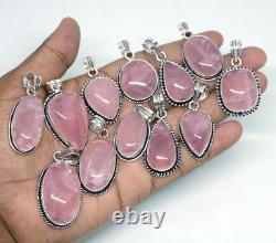 Rose Quartz Gemstone Wholesale Lots 100pcs 925 Sterling Silver Plated Pendant