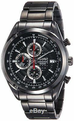 Seiko Men's Quartz Watch Chronograph Stainless Steel Black Ion Plated SSB179P1