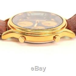 Seiko Vintage Quartz Chronograph 7t32-f01a Gold Plated New Battery Nice G14