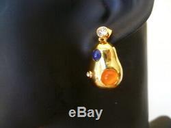 Signed CELINE Resin GEMS & GOLD PLATE PEARL Earrings 3cm
