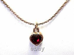 Signed Christian Dior Necklace Gold Plated Ruby Red Crystal Heart Pendant
