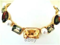 Signed OSCAR DE LA RENTA Plum & Grey Crystal Faux Pearl GOLD PLATE Necklace