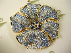 Signed Swarovski Blue Topaz Crystal Flower Pinbrooch 22kt Gold Plating Rare Nwt