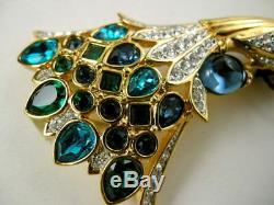 Signed Swarovski Crystal Peacock Bird Pin Brooch 22kt Gold Plating Nwt