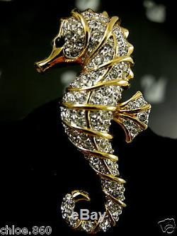 Signed Swarovski Seahorse Crystal Pinbrooch 22kt Gold Plating Retired Rare