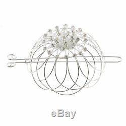 Silver Plated Metal Wire Rhinestone Hair Bun Cage Elegant Bun Holder/ Decor