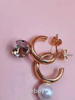Simone Rocha Small 18k Gold Plated Crystal & Pearl Hoop Earrings