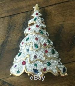 Swarovski Christmas Tree Brooch Pin 1997 22kg plate Clear, Red, & Green Crystals